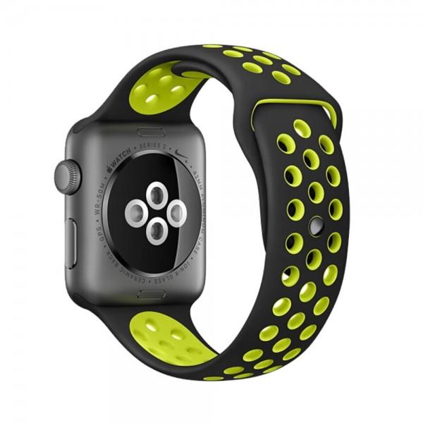 Pulseira Silicone Estilo Nike Apple Watch Preto Amarelo Fluorescente Img 01