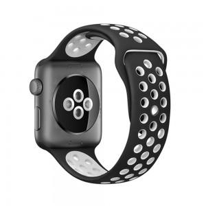 Pulseira Silicone Estilo Nike Apple Watch Preto Branco Img 01