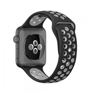 Pulseira Silicone Estilo Nike Apple Watch Preto Cinza Img 01